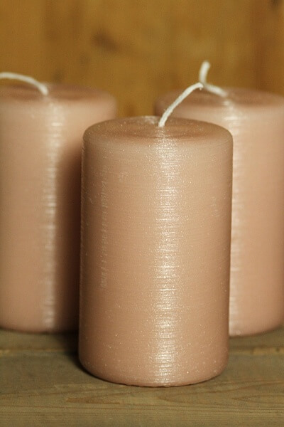 Stumpenkerze Rustik lys blossom glitter varnish elegant