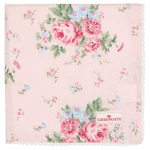Greengate Napkin with lace Marley pale pink Stoffserviette